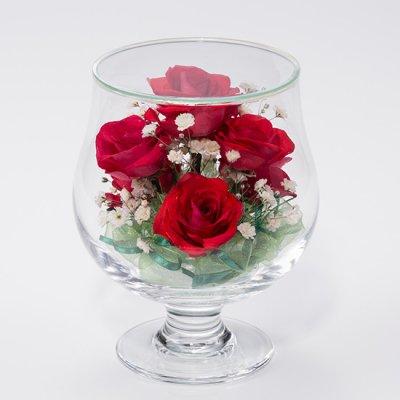 赤いバラとカスミソウのグラスSのボトルフラワー