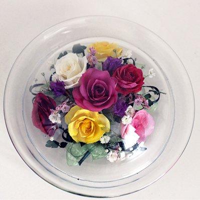 小さなバラの花のボトルフラワー皿型S