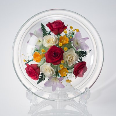 赤いバラのボトルフラワー皿型M