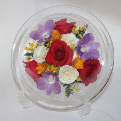 赤いバラのボトルフラワー皿型M-P