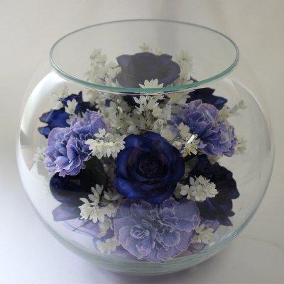 ボトルフラワー(ボールボトル2L)青いバラ・薄紫のカーネーション・姫うつぎ