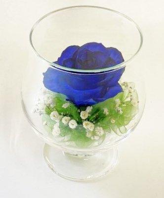 ボトルフラワー(グラスS) 青いばら・かすみ草