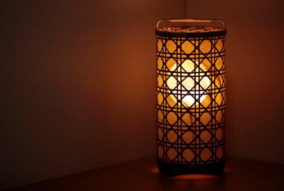 「月と芒」 虎斑竹と手漉き土佐和紙の手作り照明