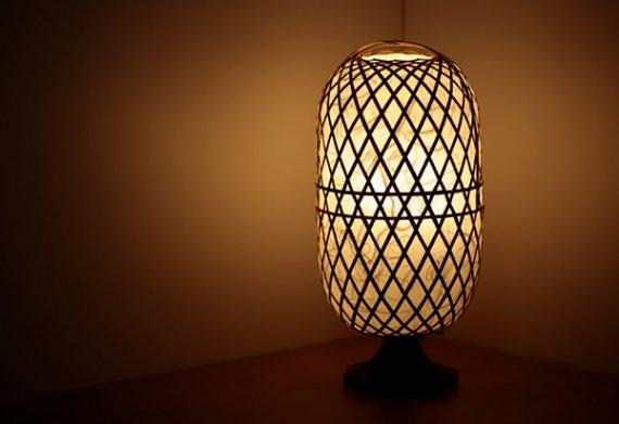 「繭」 虎斑竹と手漉き土佐和紙の手作り照明