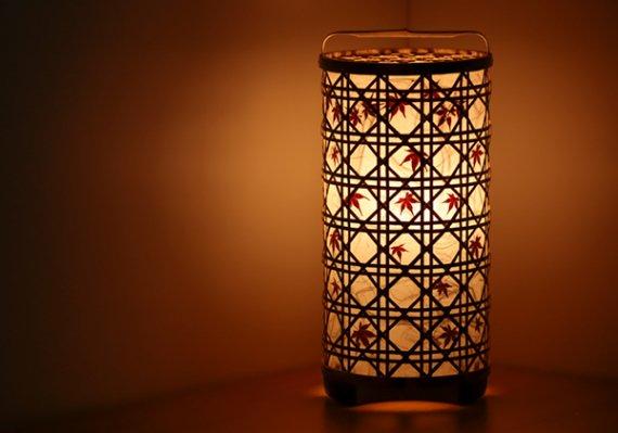 「紅葉」 虎斑竹と手漉き土佐和紙の手作り照明