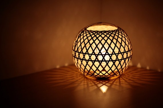「毬」 虎斑竹と手漉き土佐和紙の手作り照明