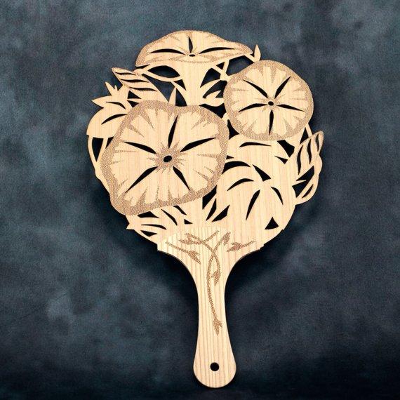 「デザインうちわ(朝顔)」 高知県 県木 やなせ杉製