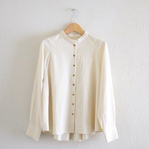 コーデュロイスタンドカラーフレアシャツ White
