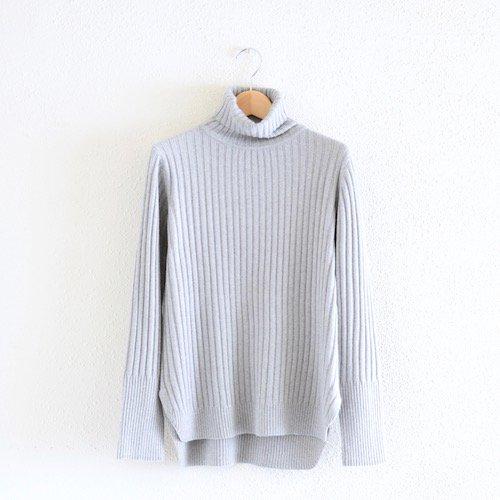コットンウールフォックスリブタートルセーター 杢Light Gray