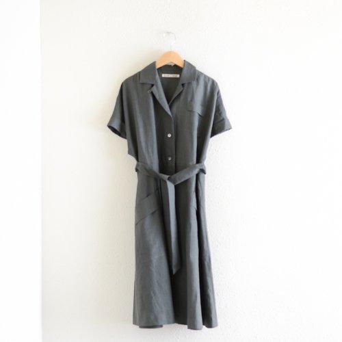 リネンオープンカラーワンピース Charcoal Gray
