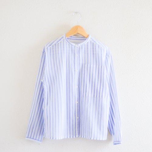 コットンシフォンストライプシャツ White × Blue