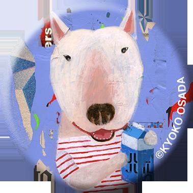 miniportrait Badge ミルクとブルテリア