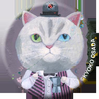 miniportrait Badge エスプレッソと白猫