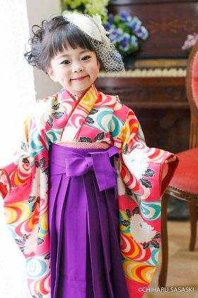 渦巻き流水 レトロローズ 袴セット 3歳