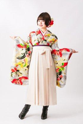波に鶴 白生地 大正ロマンなアンティーク着物復刻デザイン卒業袴セット
