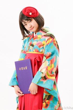 波に鶴 青緑 二尺袖卒業袴 (小学生卒業袴・ジュニアサイズ)