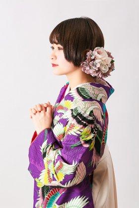 波に鶴 紫 二尺袖