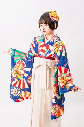 梅菊舞扇 紺1 二尺袖