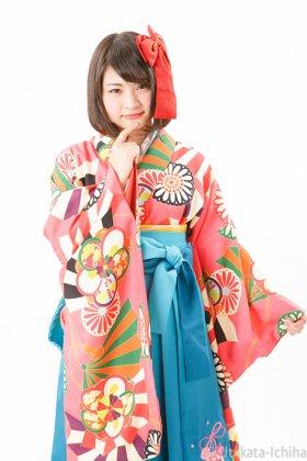 梅菊舞扇 桃色 二尺袖