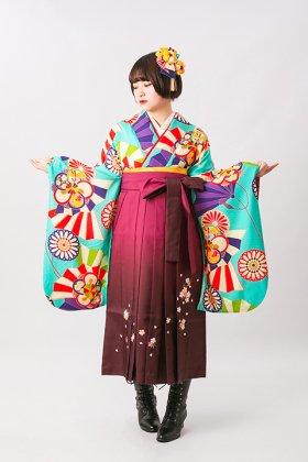 梅菊舞扇 ターコイズ 二尺袖
