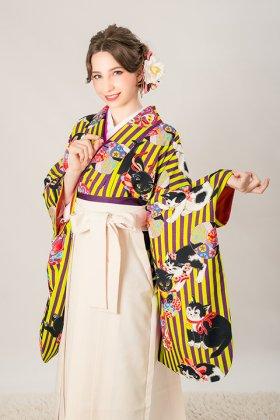 鞠遊猫 紫×黄色 二尺袖