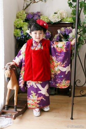 3歳 七五三レンタル アンティーク着物  鳩紫