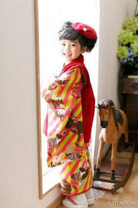 猫アンティーク ピンク×黄緑メロン色 3歳
