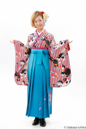 鞠遊猫 ピーコック青×赤 レトロ古風大正ロマンなアンティーク着物復刻デザイン卒業袴セット