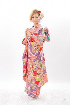 振袖レンタル 雲枠柄紫ピンク 【アンティーク復刻レンタル】