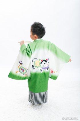 レトロ狛犬刺繍 羽織袴セット 5歳