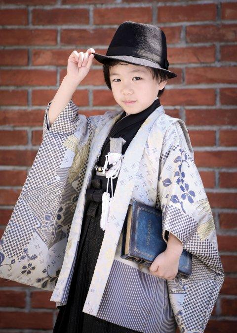 絵羽桐生織着物&袴セットシルバー 5歳