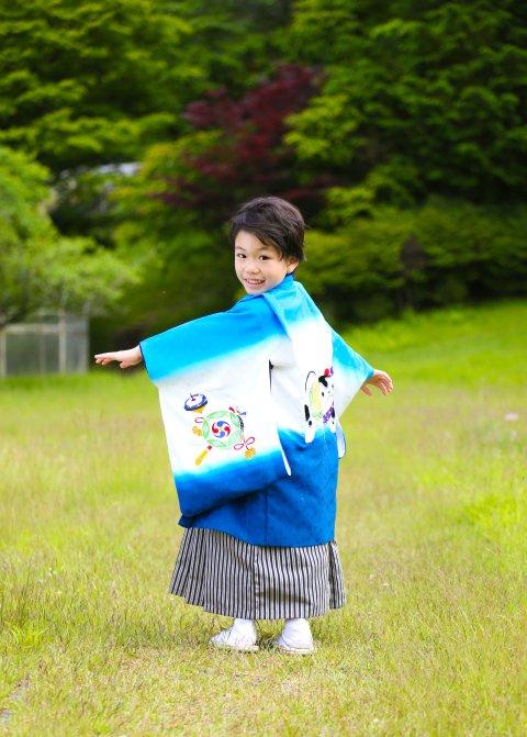 レトロ狛犬刺繍青 羽織袴セット 5歳