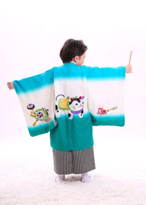 レトロ狛犬刺繍エメラルド 織袴セット 5歳