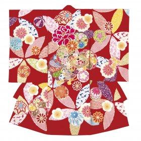 東京・日本橋で二百年以上のブランド「榛原(はいばら)」お宮参り用絵羽着物赤色 女の子産着【送料込み】