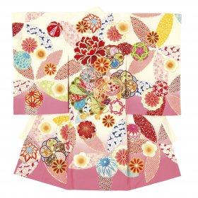 東京・日本橋で二百年以上のブランド「榛原(はいばら)」お宮参り用絵羽着物白ピンク色 女の子産着【送料込み】