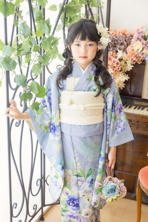 7歳七五三 レンタル着物 アネモネ  アッシュブルー 【お揃い対応】
