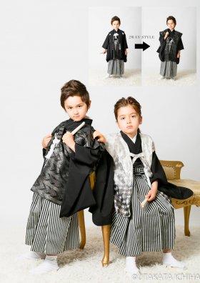 黒紋付袴+桐生織「黒 」陣羽織3ピース  2WAY着物セット 5歳用着物 《セサミ掲載》