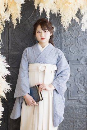 総レース卒業袴レンタル フルセット アッシュブルーソフトレース着物×白袴