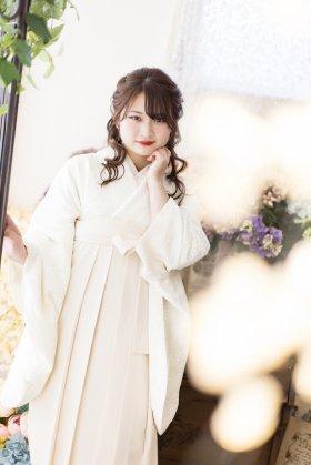 総レース卒業袴レンタル 極薄ピンクオフ白 フルセット