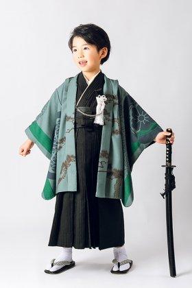 羽織袴セット 家紋と龍の図案 5歳  緑