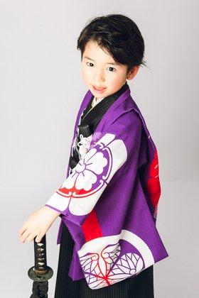 羽織袴セット 家紋と龍の図案 5歳  紫