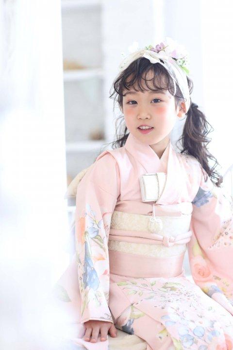 7歳七五三 レンタル着物 ローズ ピンク 着物いちは