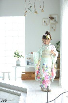 7歳七五三 レンタル着物 ボダニカルビビット 淡色エメラルド 【お揃い対応】