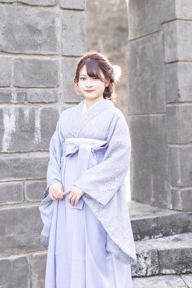 総レース卒業袴 アッシュブルーソフトレース着物×ライトグレー袴 レンタルフルセット