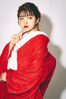 和洋折衷花嫁衣裳 エンブロイダイリー刺繍レース打掛 シノワズリー婚礼衣装 赤 フルセットレンタル