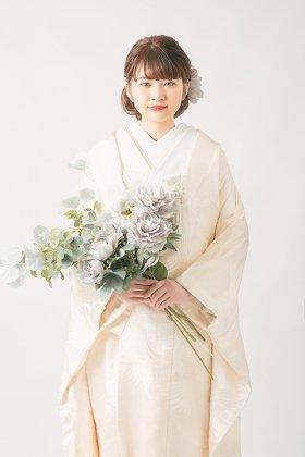 花嫁衣裳 白無垢 白鶴生成り刺繍正絹婚礼衣装 フルセットレンタル