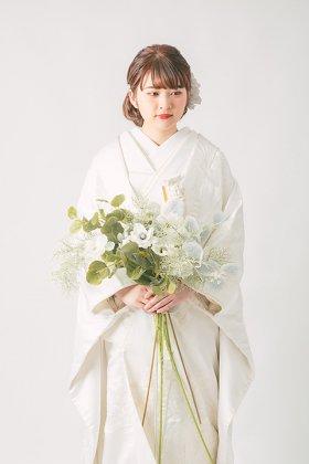 花嫁衣裳 白無垢 白鶴御所車刺繍婚礼衣装 フルセットレンタル