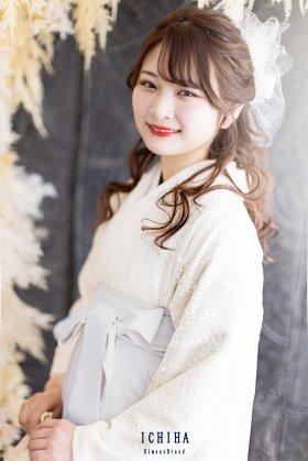 総レース卒業袴レンタル フルセット 白レース×シルバーブルー袴 レギュラーサイズ