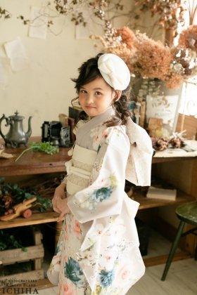 7歳七五三 レンタル着物 クラシカルローズ クリームベージュ 【お揃い対応】