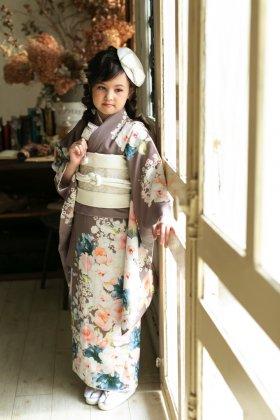 7歳七五三 レンタル着物 ボダニカルローズ  ココアブラウン 【お揃い対応】